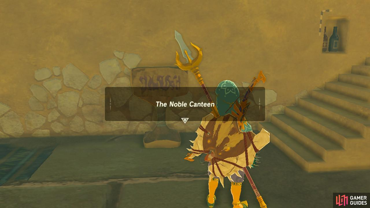 If you enter Gerudo Town from the main entrance, the Noble Canteen is to your right on the outside area