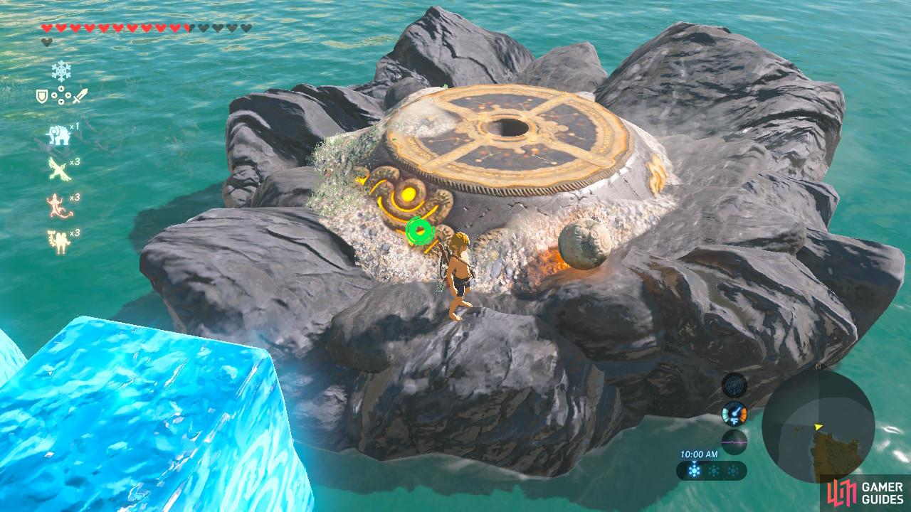 Throw the orb into the rock holding the pedestal, and then jump off your ice block to follow