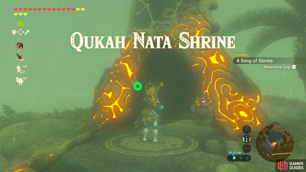 This Shrine is under a boulder you must blast by attracting lightning