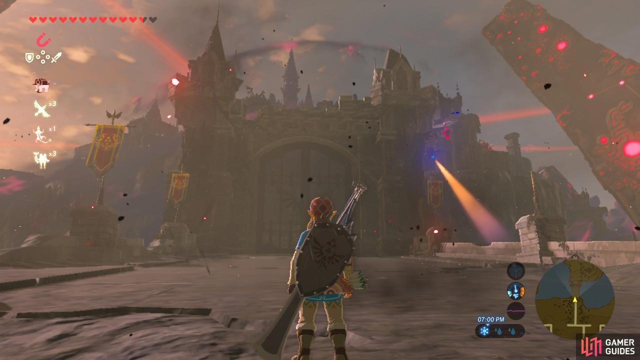These are the main gates to Hyrule Castle. Avoid the Guardian Scouts