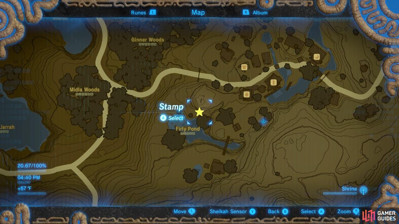 Here is the specific location in Hateno Village