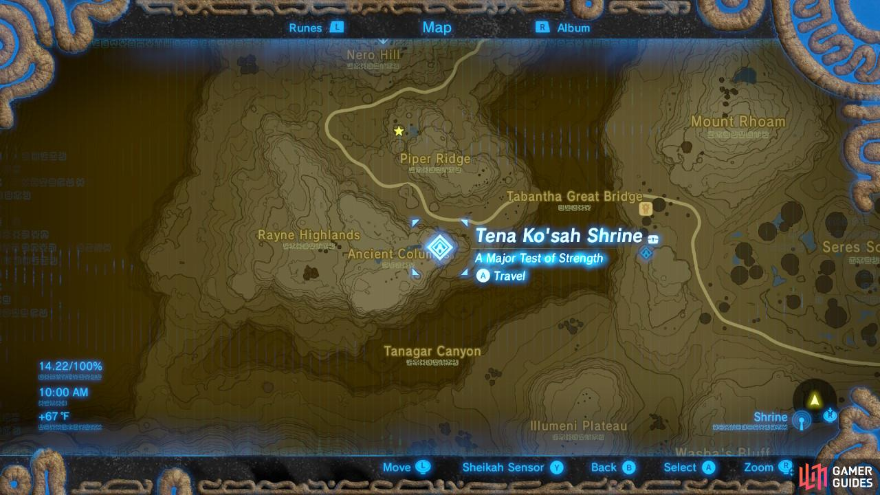 This is the specific location of the Tena Ko'sah Shrine