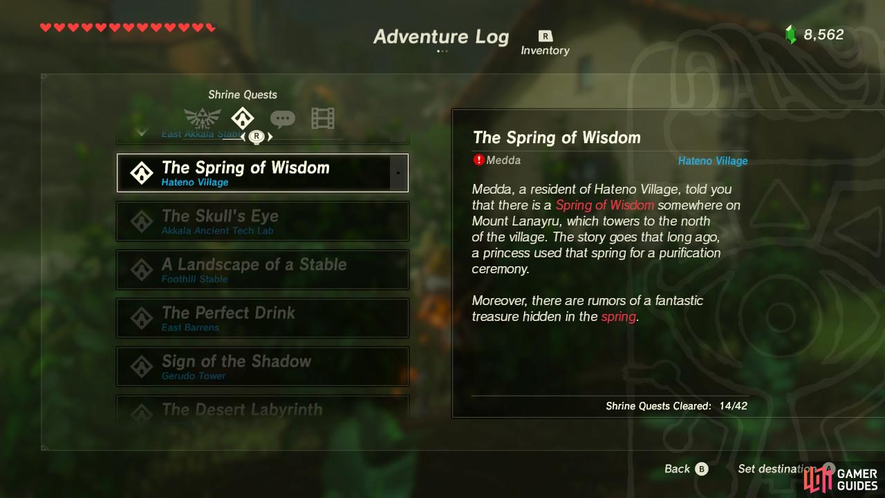 It is one of three Shrine Quests surrounding the three sacred springs of Hyrule