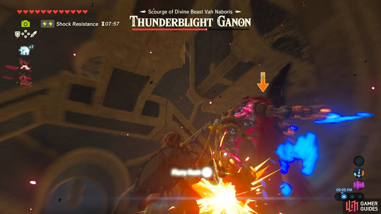 The timing is tricky but you can activate Flurry Rush off of Thunderblight Ganon's teleporting slash