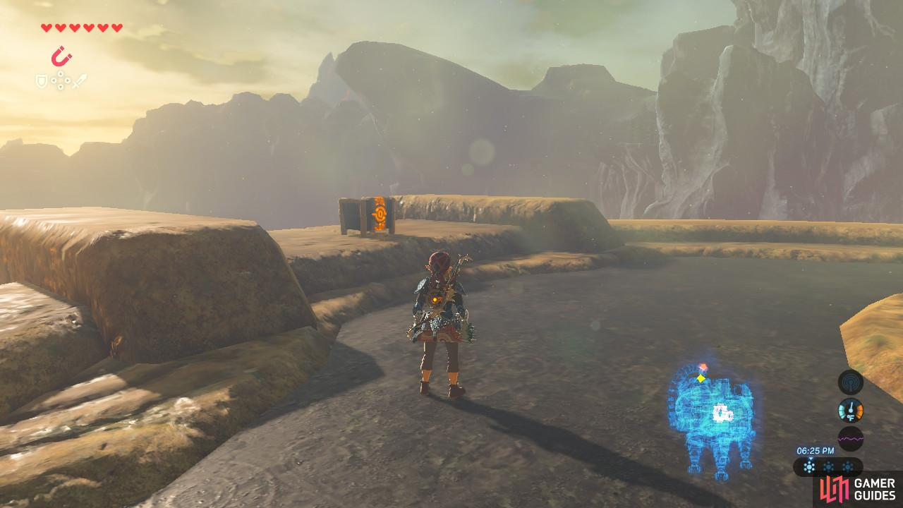 The treasure chest is on the left side of Vah Ruta's back.