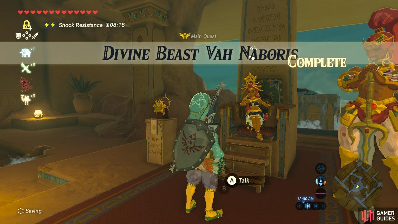 Congratulations on freeing Divine Beast Vah Naboris!