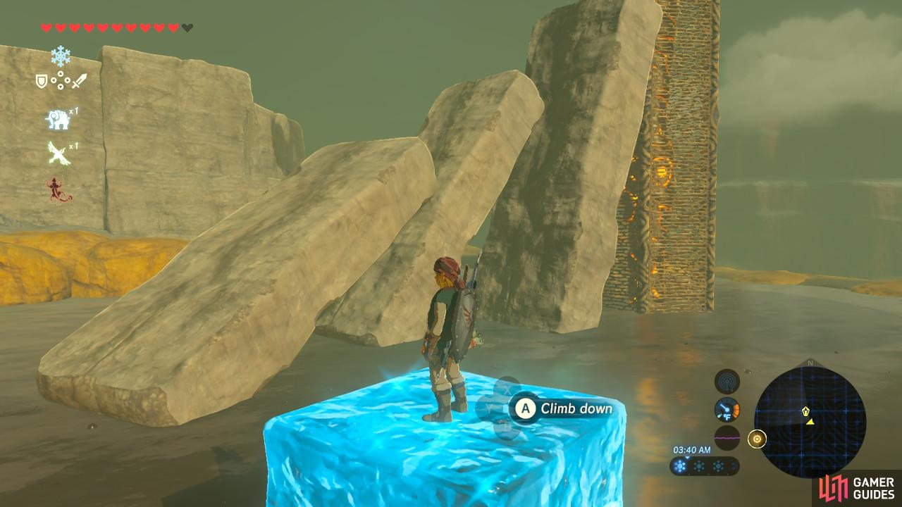 Then use Cryonis to stepping stone all the way to the leftmost slab so you can walk up to the Tower safely.