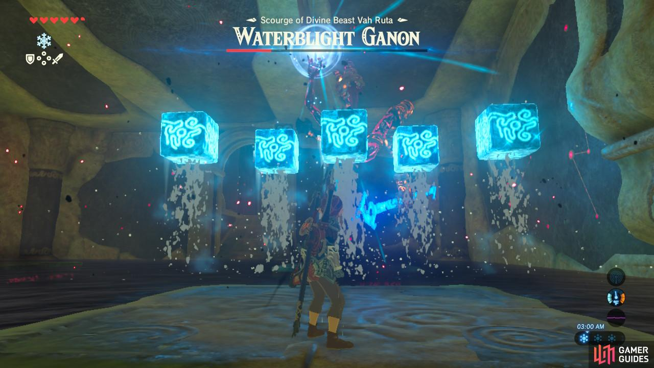 Waterblight Ganon will launch either one or five ice blocks at you