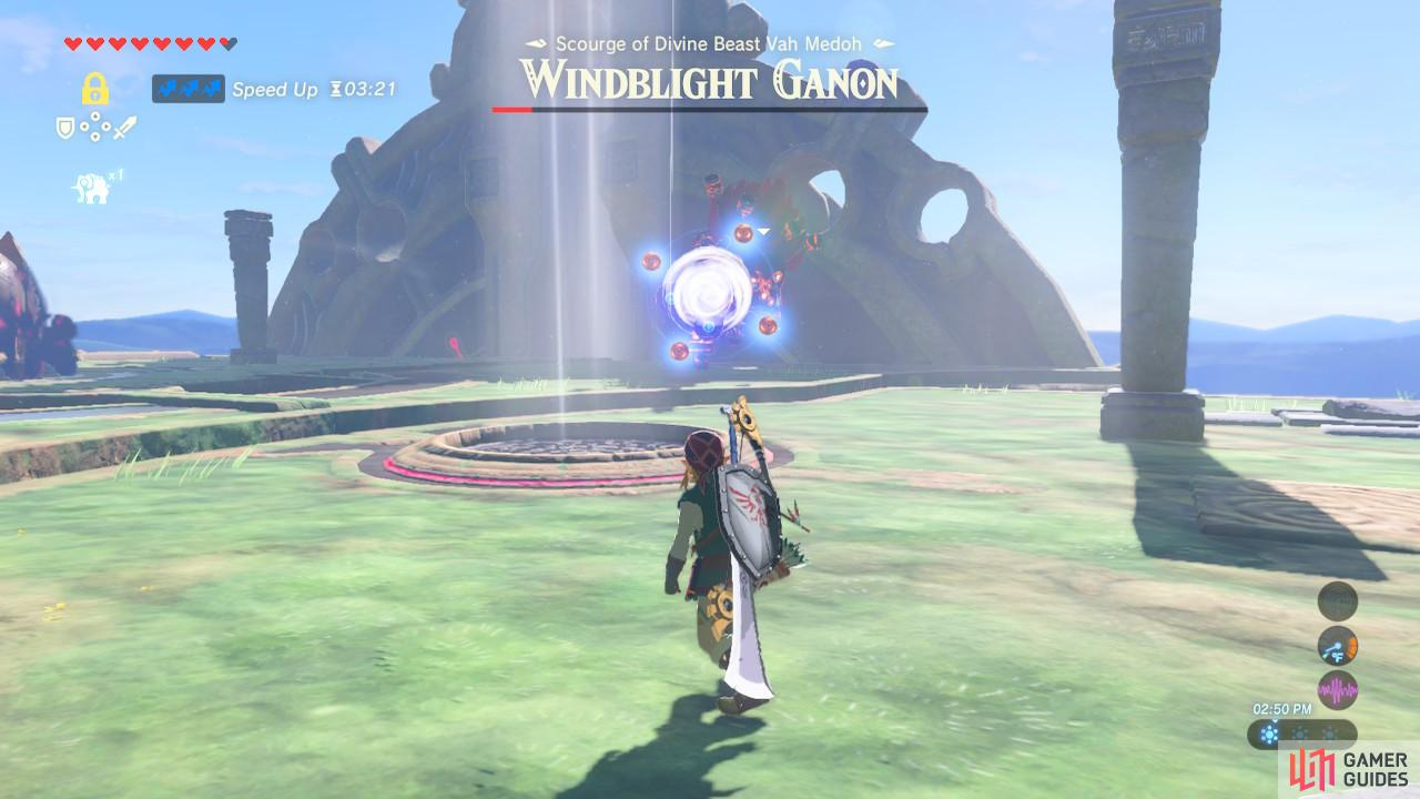 This charged gun attack is easy to dodge. Take advantage of the fact that Windblight Ganon is not moving to shoot it