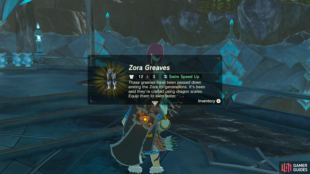 This sidequest is valuable because it gives you the Zora Greaves