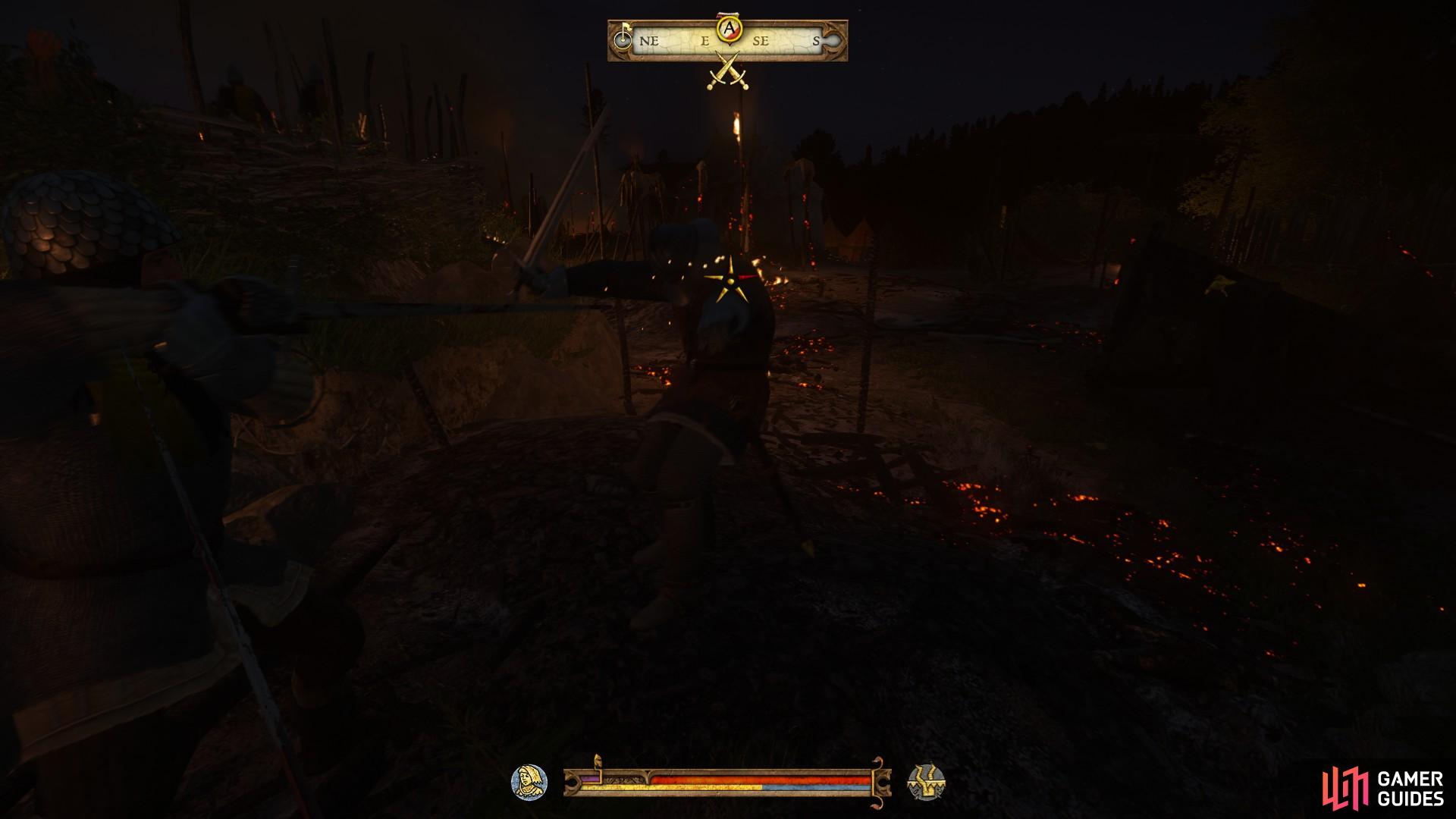 Fight the bandits that are waiting to ambush from the burning tents to the east until you have secured the location.