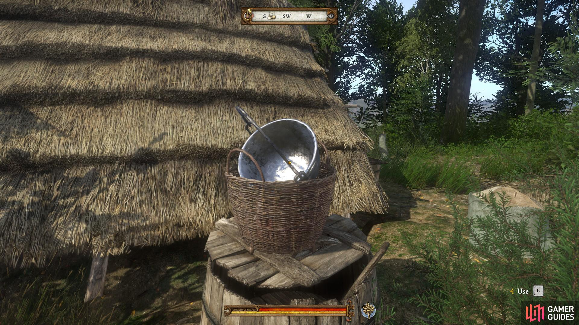 Interact with the kettle beside the hut and then speak with the charcoal-burner to incriminate him.