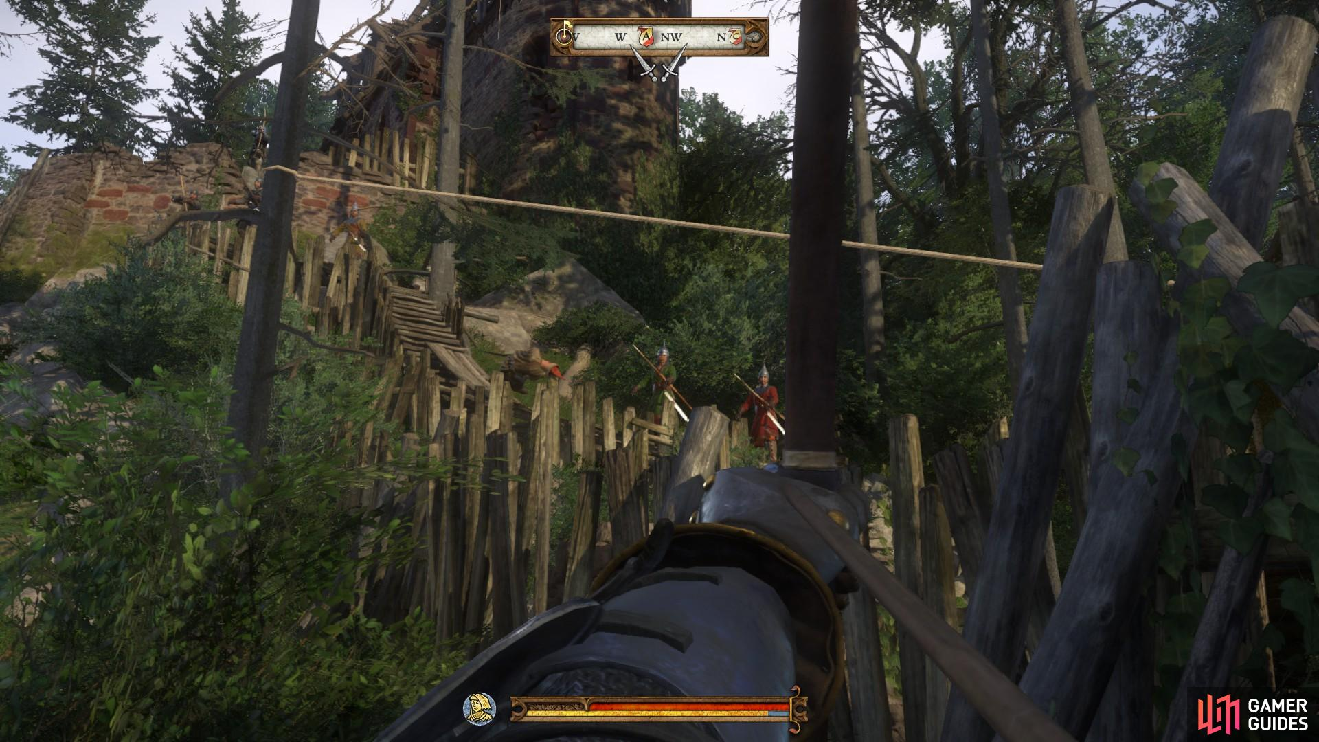 As you enter the camp be sure to deal with the archers on the ramparts to the left of the entrance.