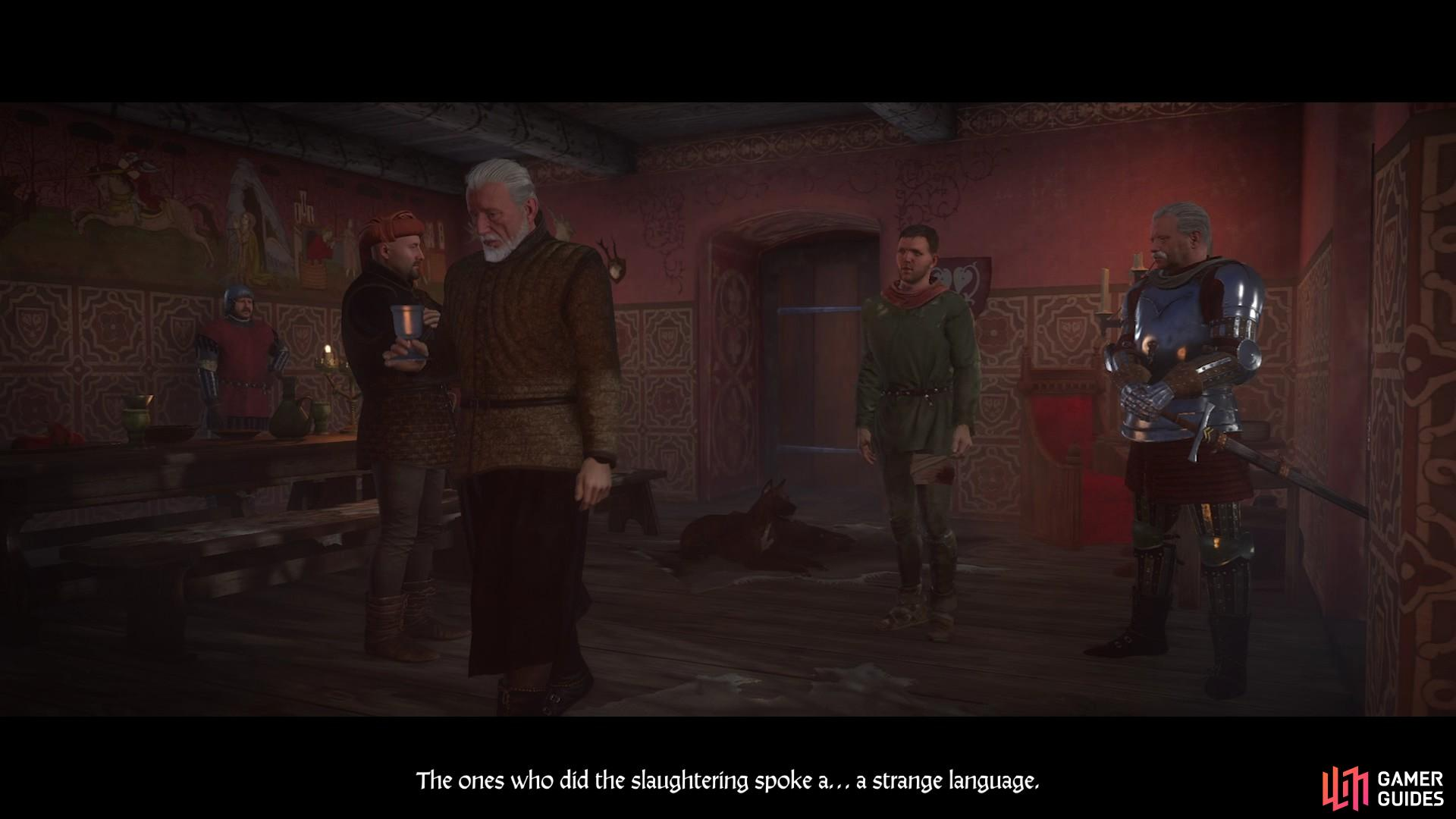 Henry relays what happened at Skalitz to Sir Divish and his council.