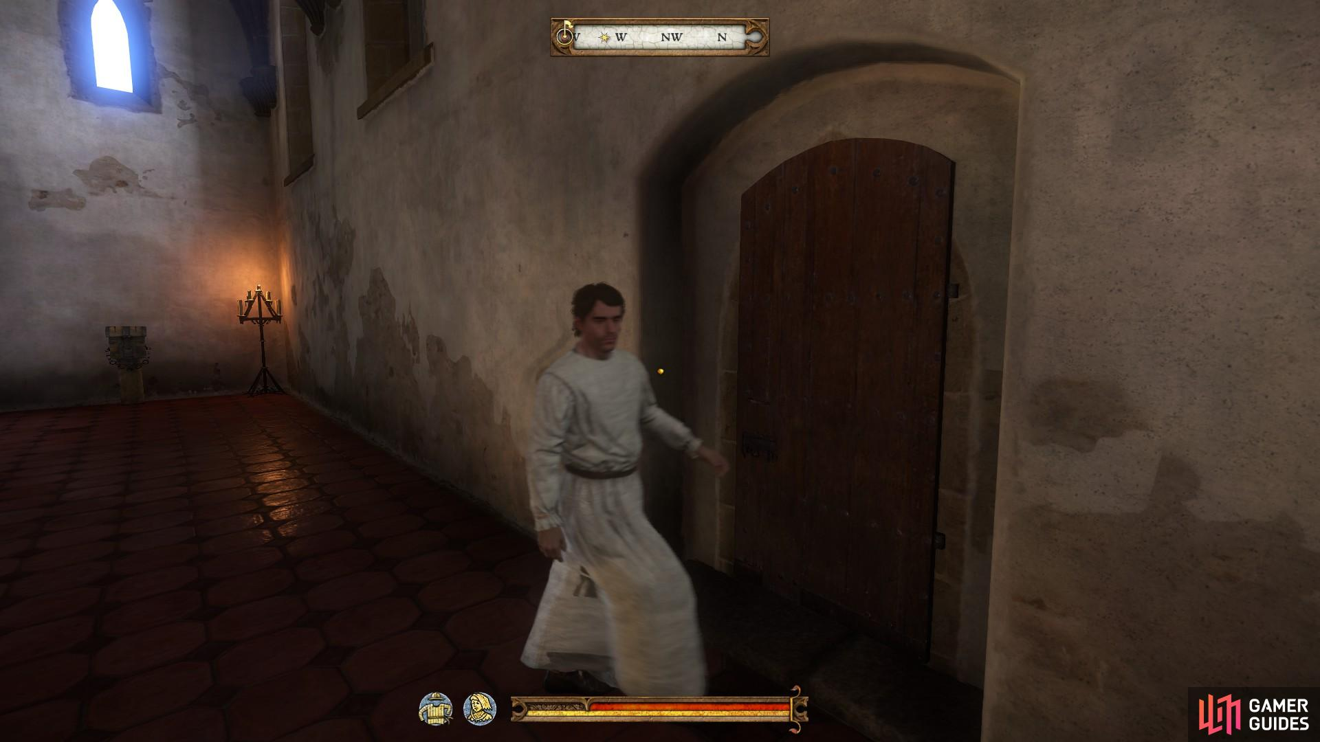 Follow Pious out of the monastery after he has dropped the blood.