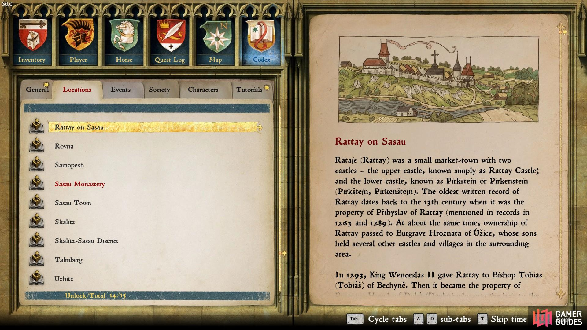 Example of Codex entry outlining a brief history of Rattay. Note the stars above the General and Tutorial tabs indicating a new entry waiting to be read.