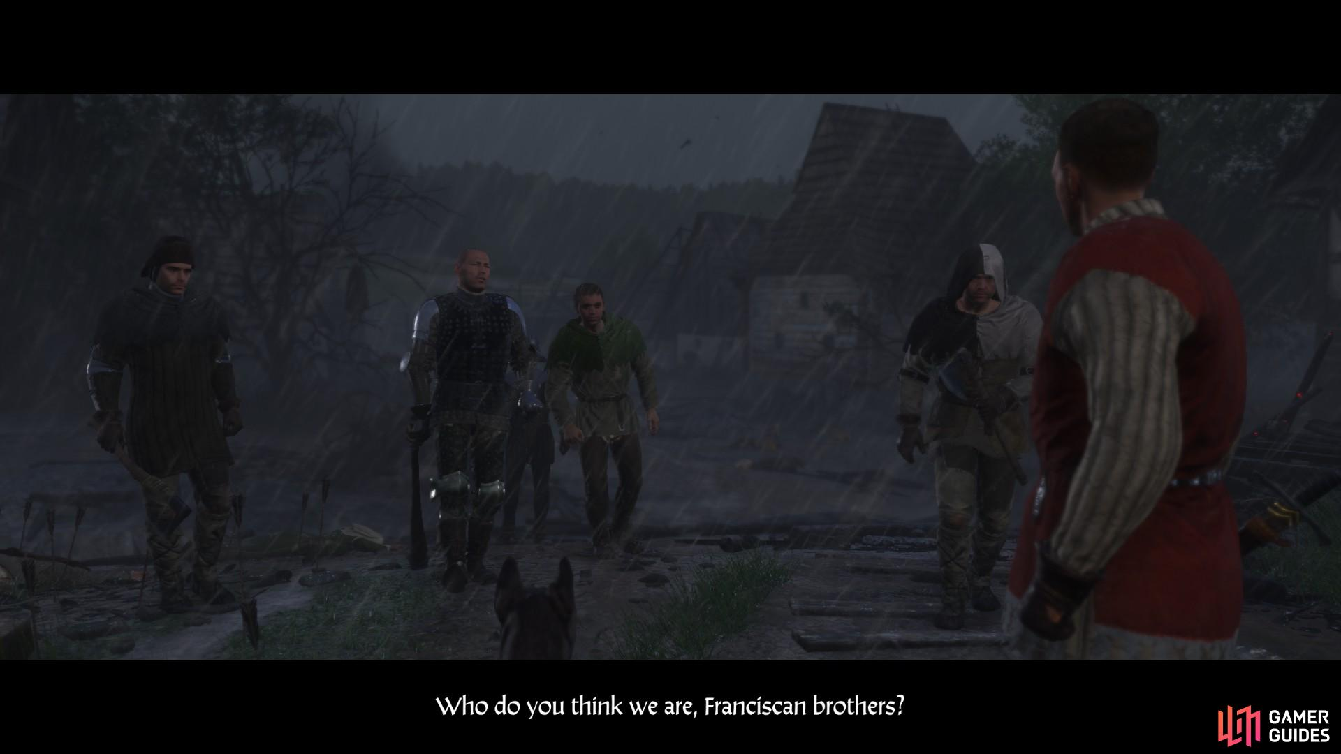 The cutscene will end with Zvyshek returning with a group of bandits and their leader, Runt.