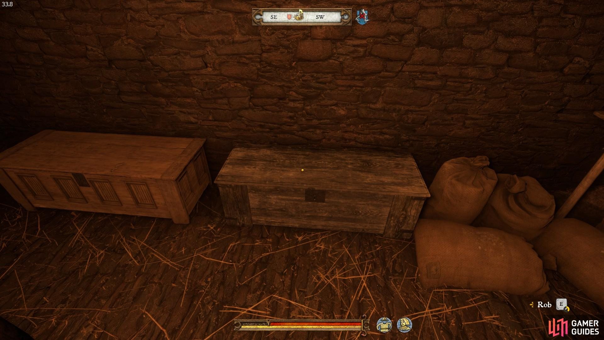 The chest with the waffenrocks in is the one to the right of the grain sacks. You will need to be able to pick hard locks to open it.