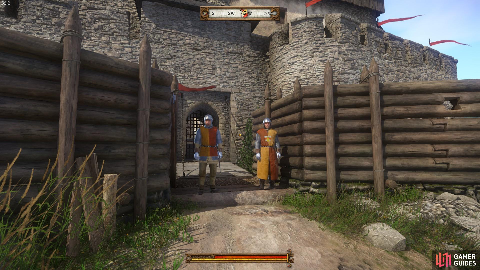 Speak to the guards to pick up the cross-guard for Sir Radzig's sword.