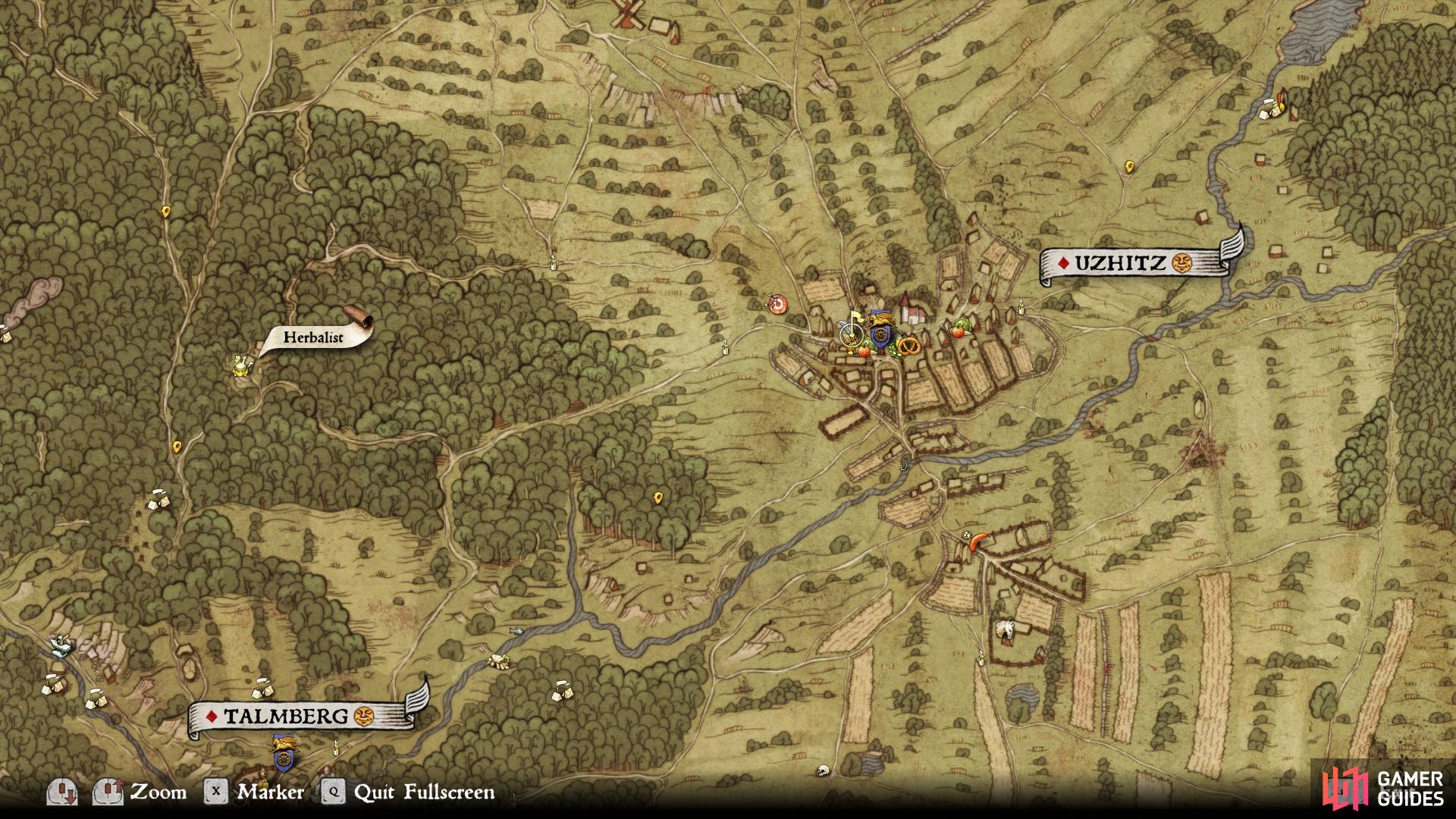 The location of the Herbalist west of Uzhitz. This is also the location of Gertrude, the woman who can train you in Herbalism.