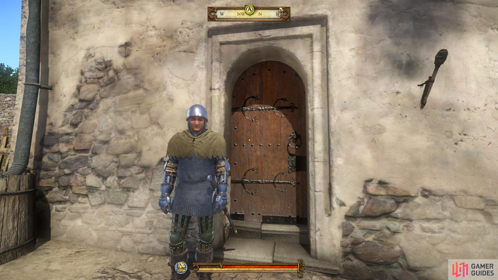 Speak with the guard and tell him that you have been sent by Master Feyfar to gain entry.