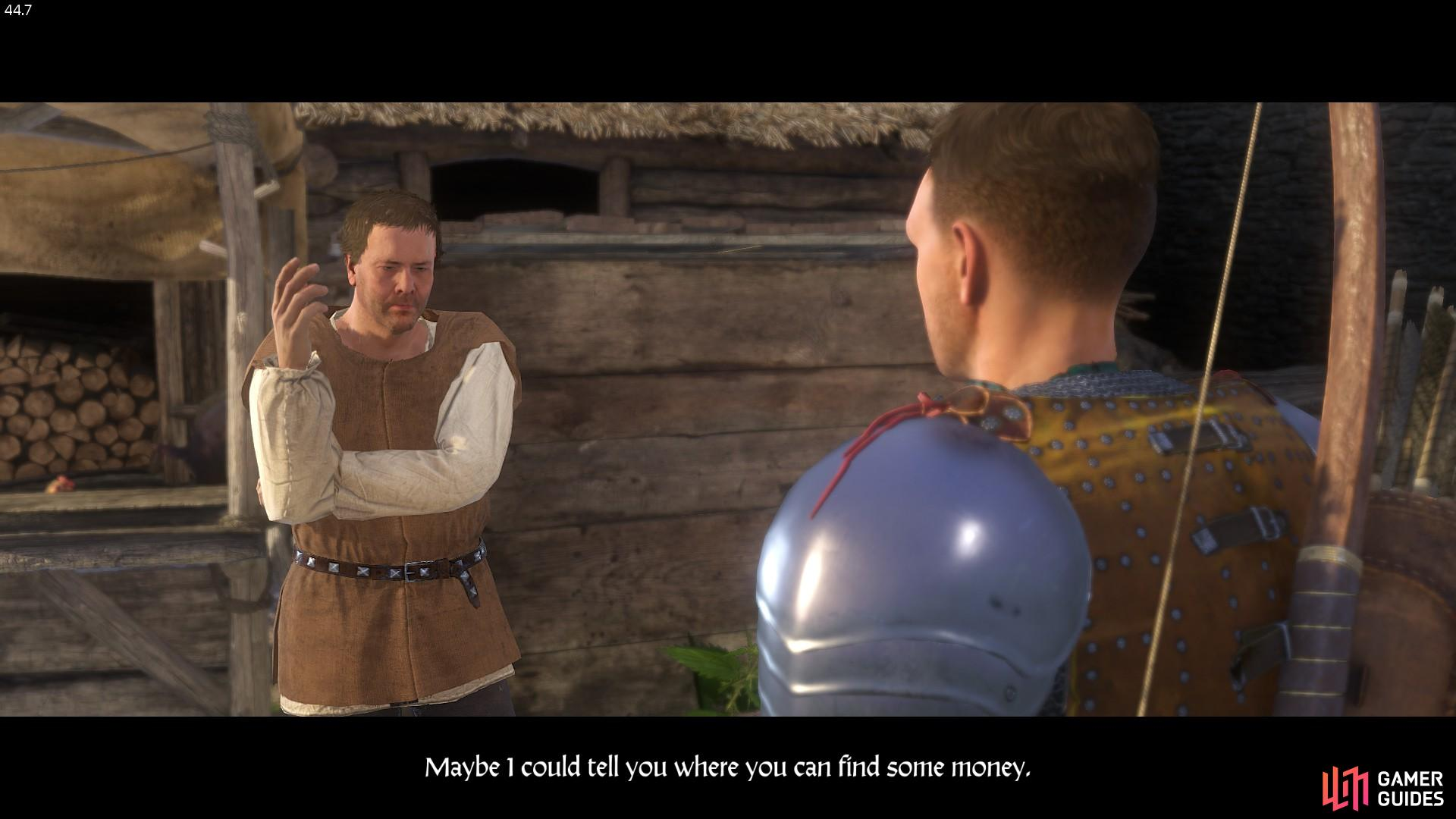 Henry reminds Kunesh that he still owes him money, but since he has none he instead directs Henry to a dove-cote in Skalitz, under which treasure can be found.