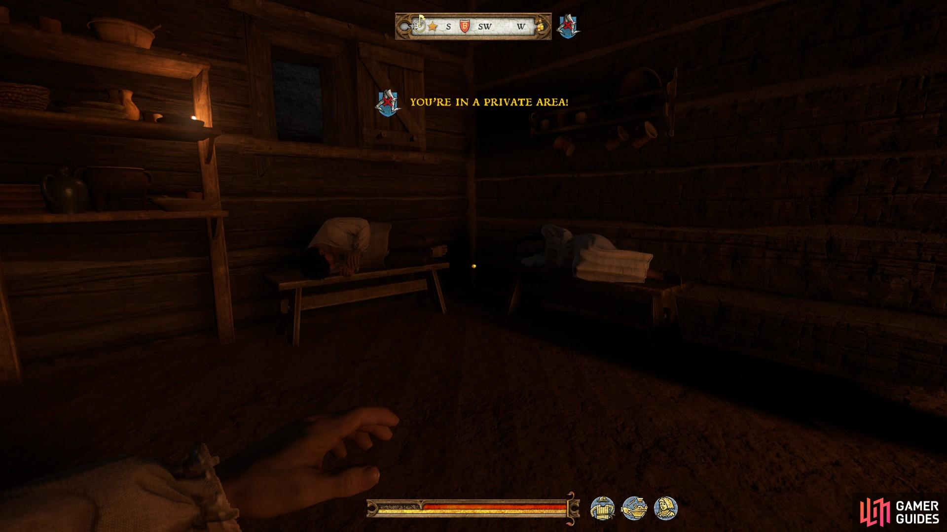 You will find the merchant sleeping very close to his wife, making it impossible to knock him out without her waking.