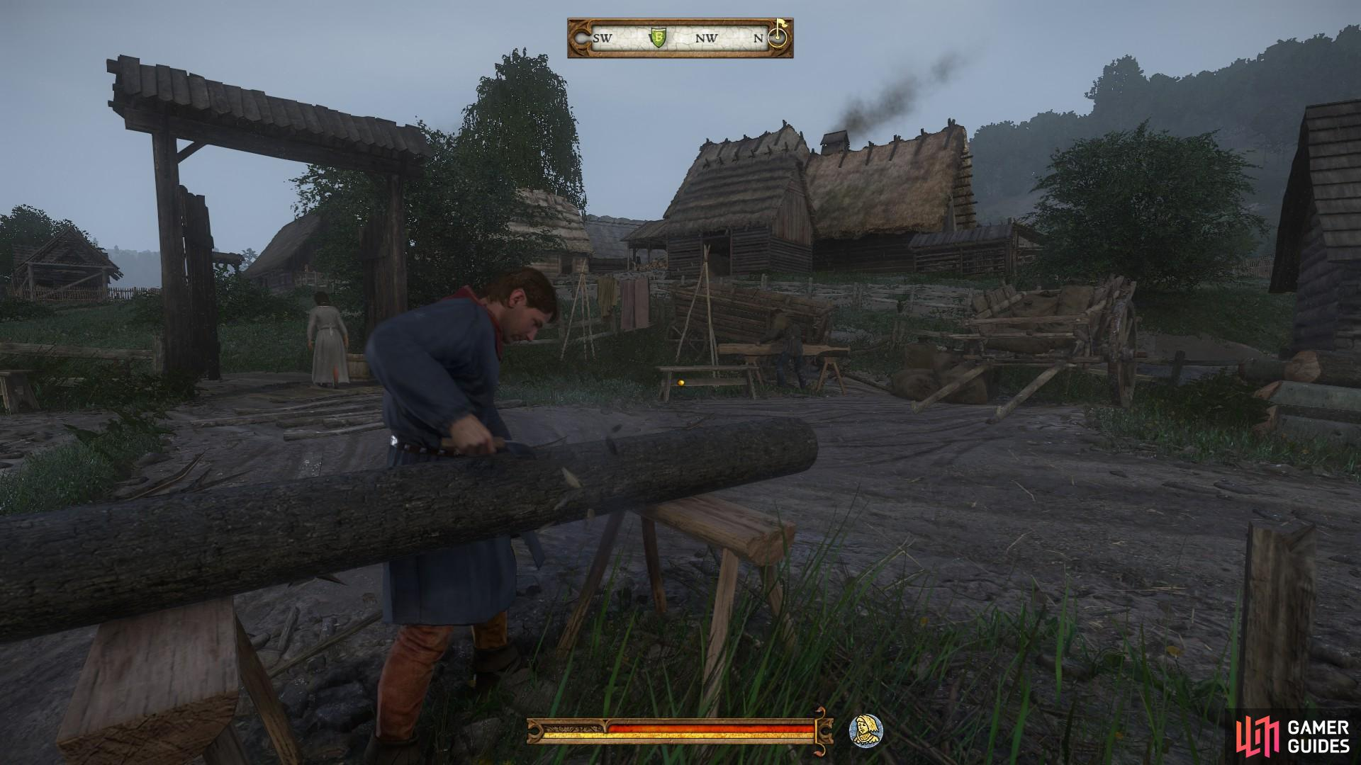 You can find Matthew and Fritz working in the courtyard of the mill.