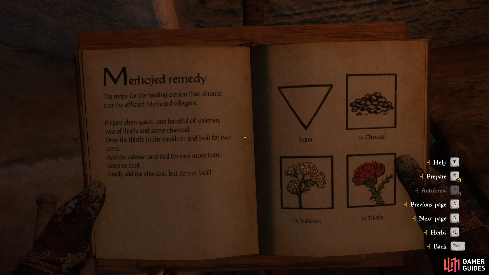 The instructions for the recipe are contained within the book when using the alchemy equipment. Follow them carefully and be sure not to overlook any details.