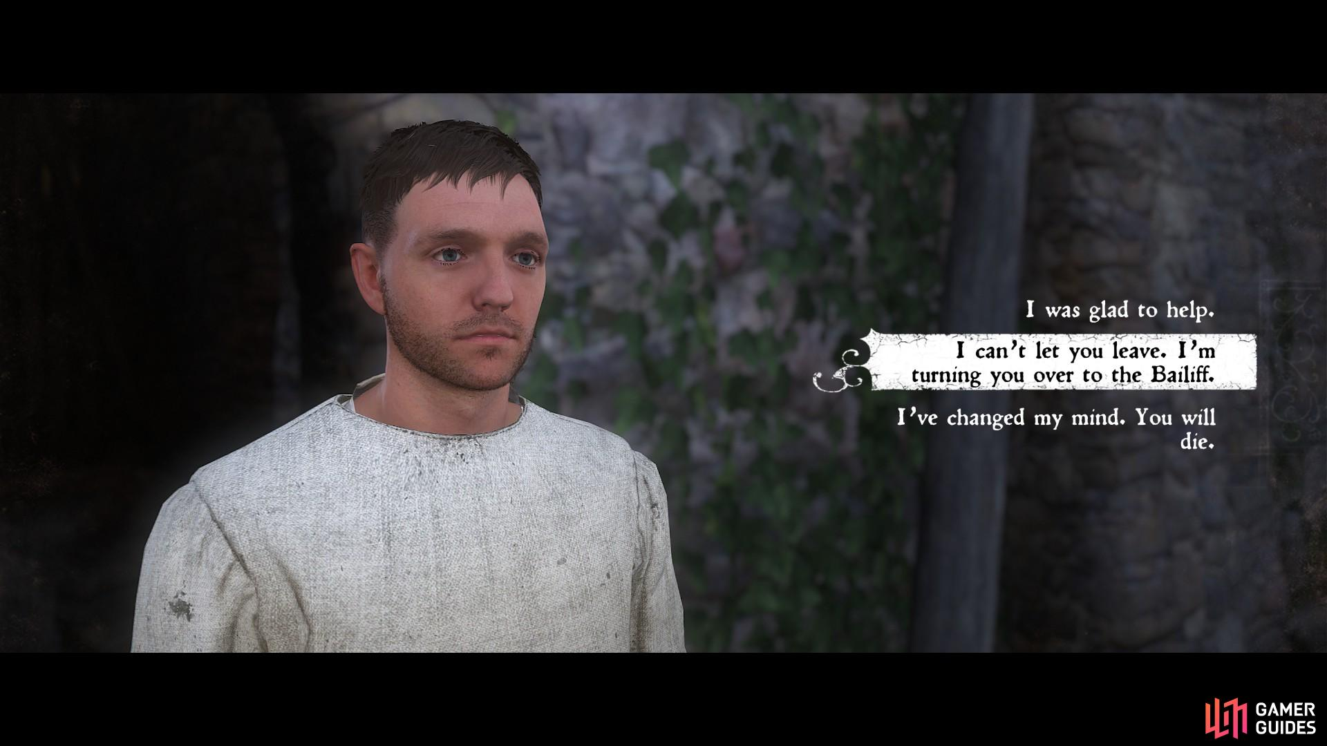 When you are both outside without being caught, it is time to decide the fate of Pious. If you choose to take him to Rattay, he will put up a fight.