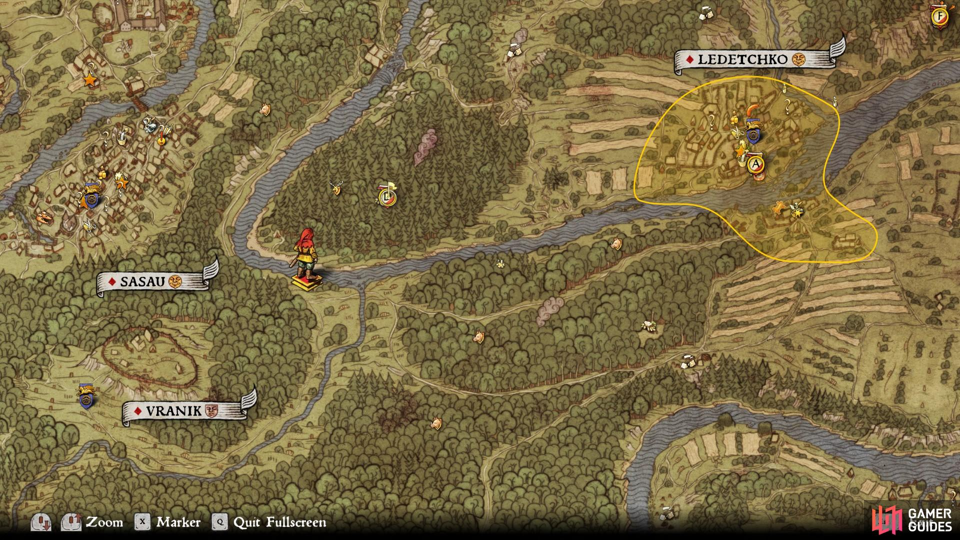 The quickest way to the mine shaft on the promontory is by following the river until you reach a crossing, located at the position above.