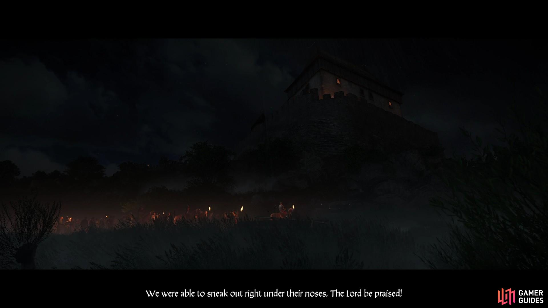 The cutscene reveals that Sir Radzig was able to escape with a number of soldiers and residents from Skalitz.