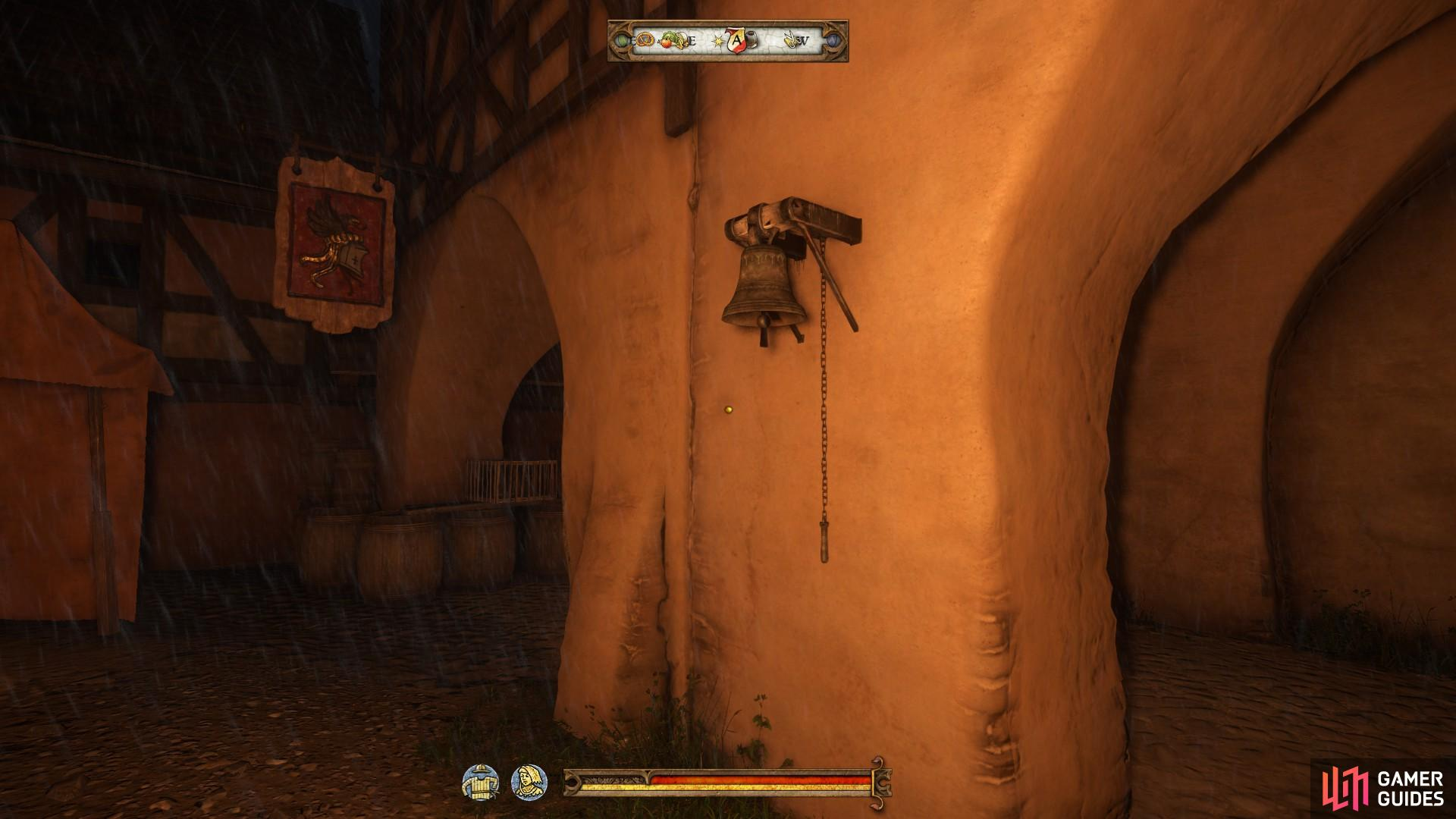 Ring the bell by the Rathaus to signify the ending of the day. It is located on the wall just outside the Armourer shop.