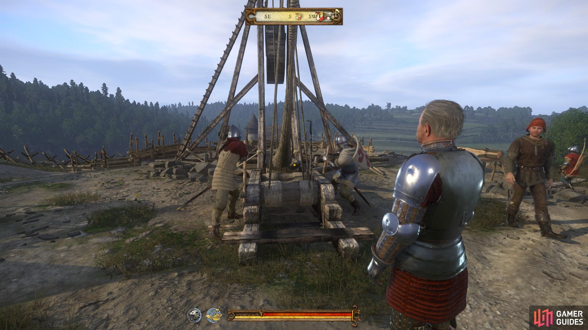 Go to Sir Robard and wait with him as the men load the trebuchet.