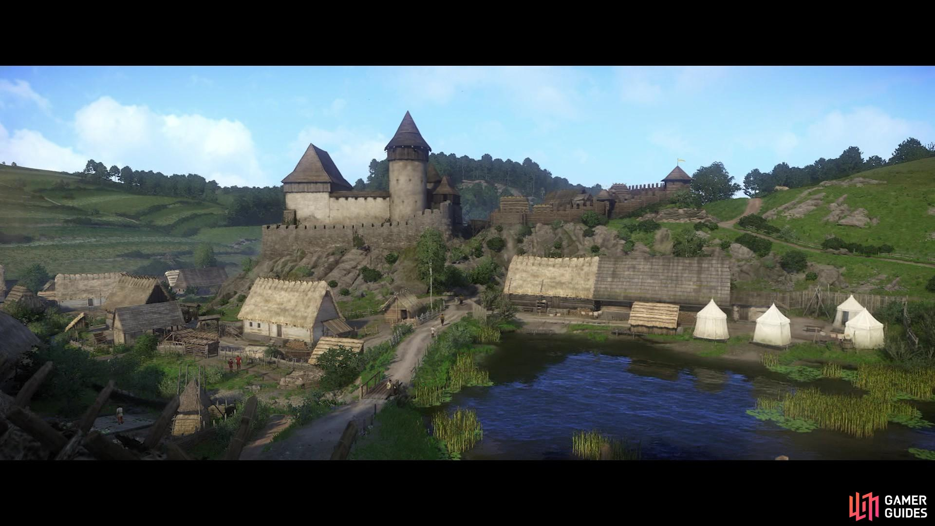 Upon seeing Talmberg in the distance a cutscene will follow in which Henry is saved by the Talmberg archers.