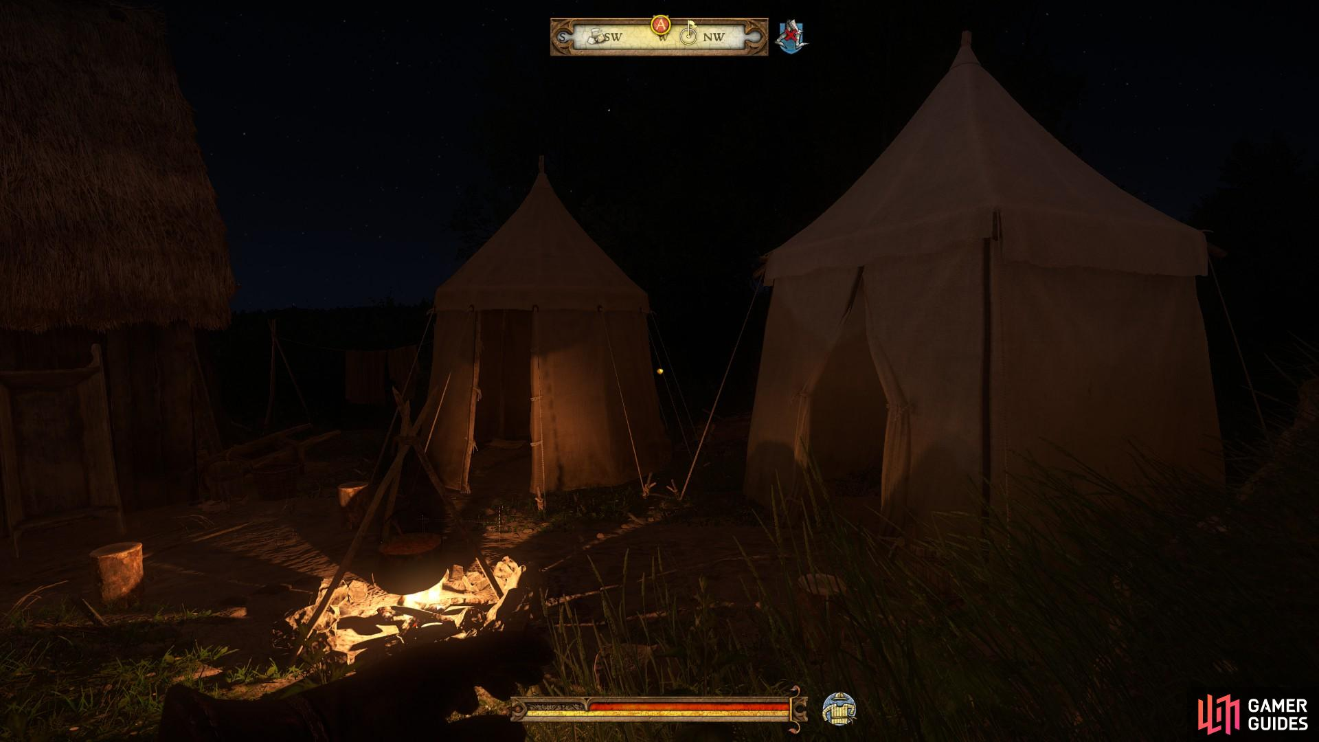 The executioner's sword can be found in the small tent on the left.