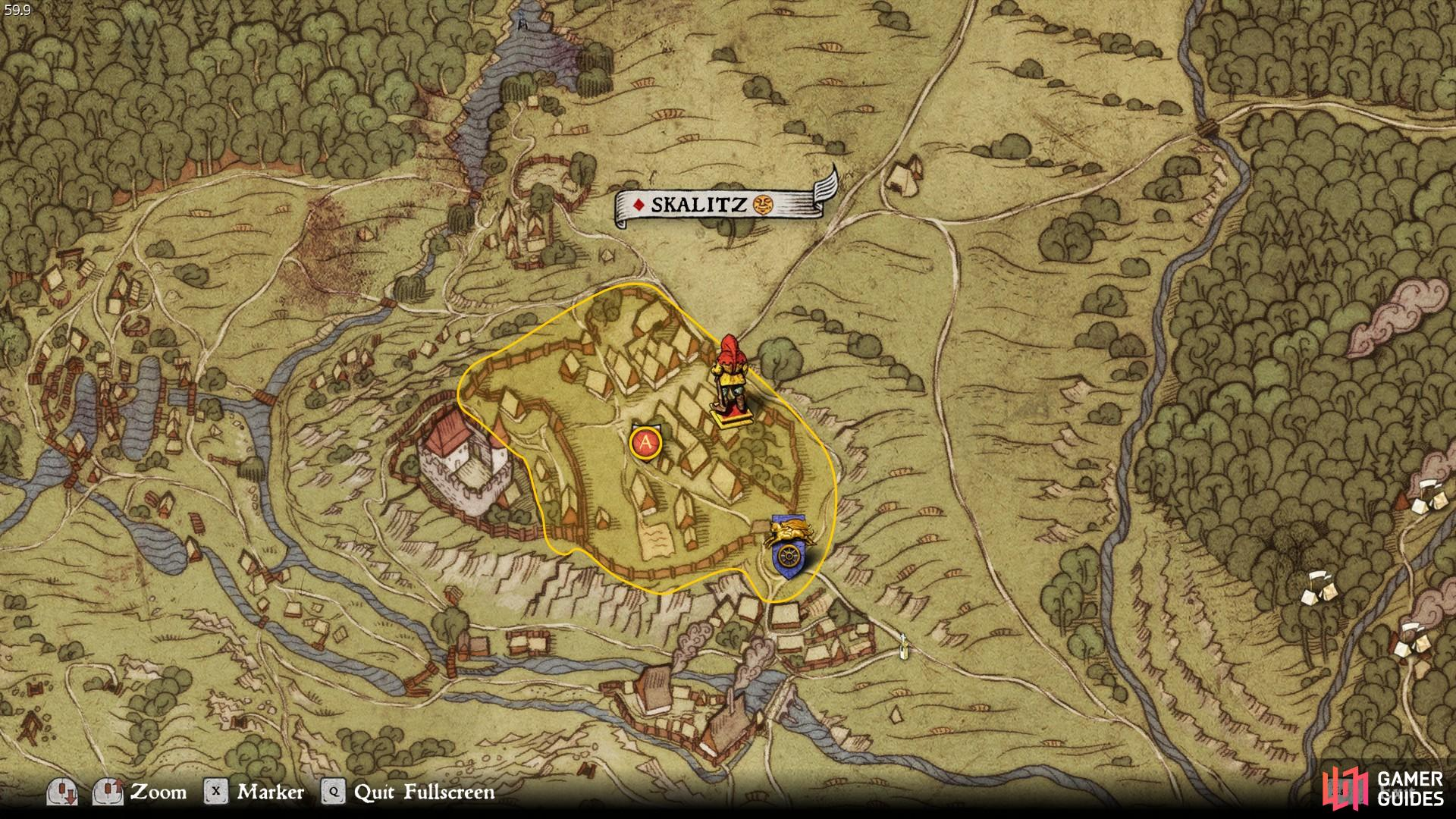 The location of the dove-cote in Skalitz under which the treasure can be found.