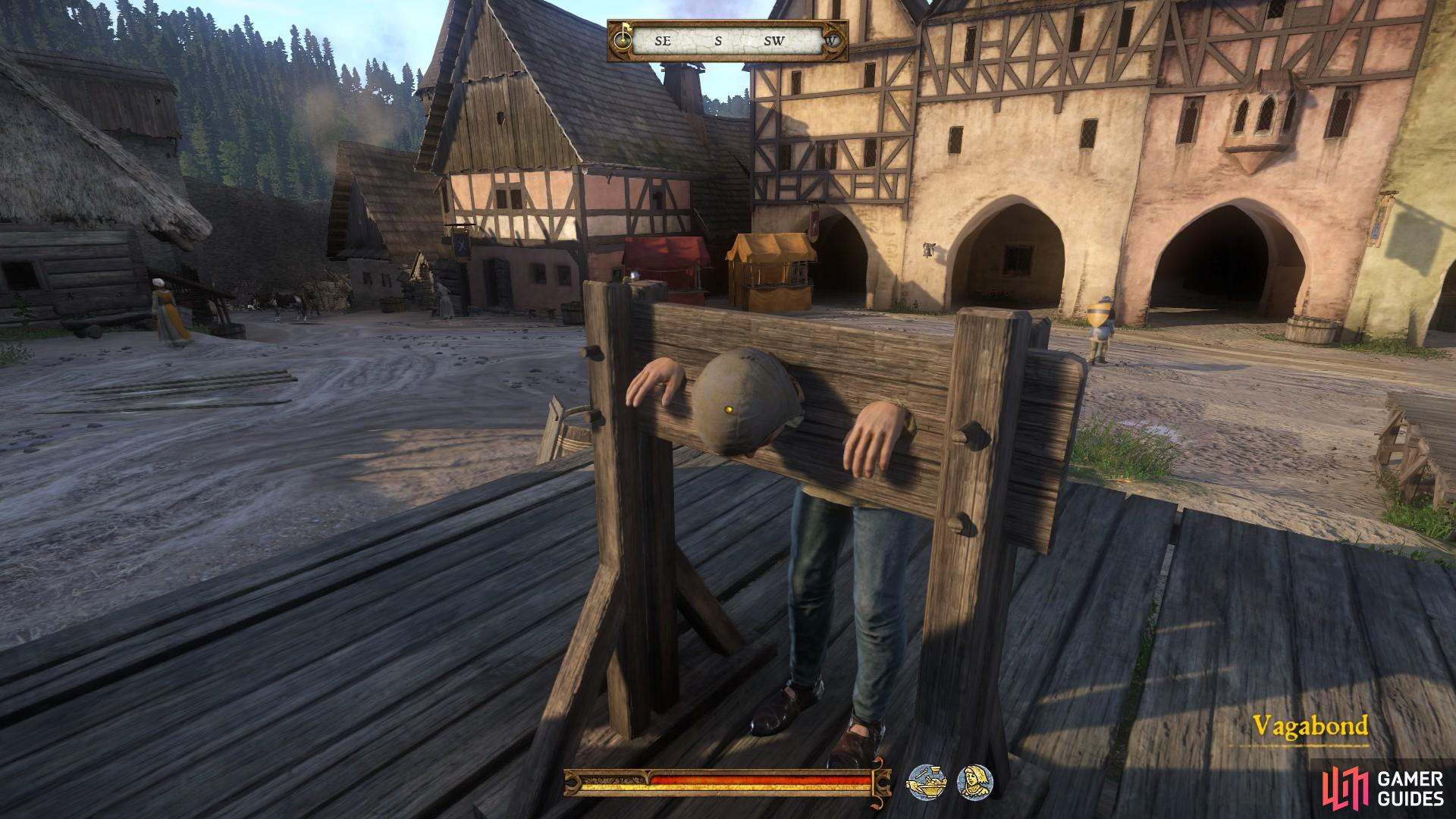 When you return to Rattay, you will find the Vagabond arrested in a pillory. You can speak to him, but he will not be able to reward you.