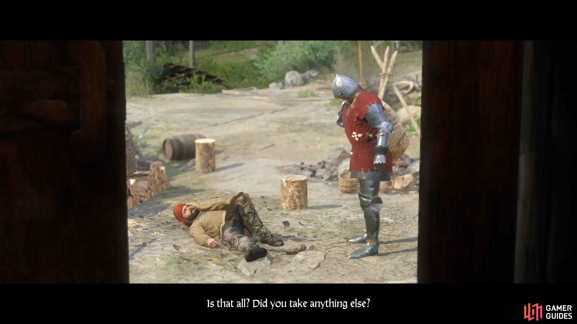 When you are done questioning the wounded mercenary a cut scene will follow in which the mysterious German knight shows up and takes a bag of coin.