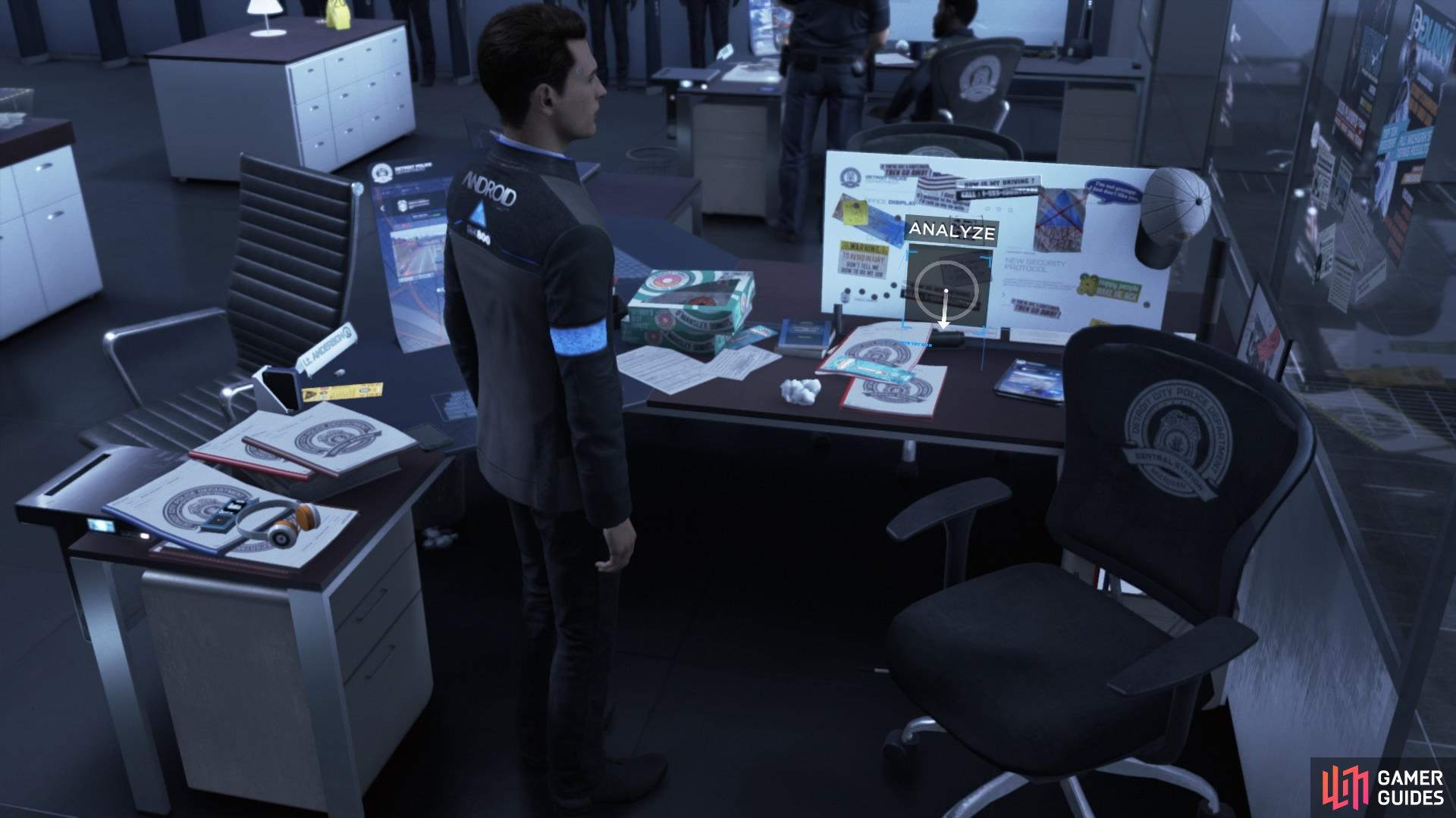 Analyse Hank's desk for 8 clues