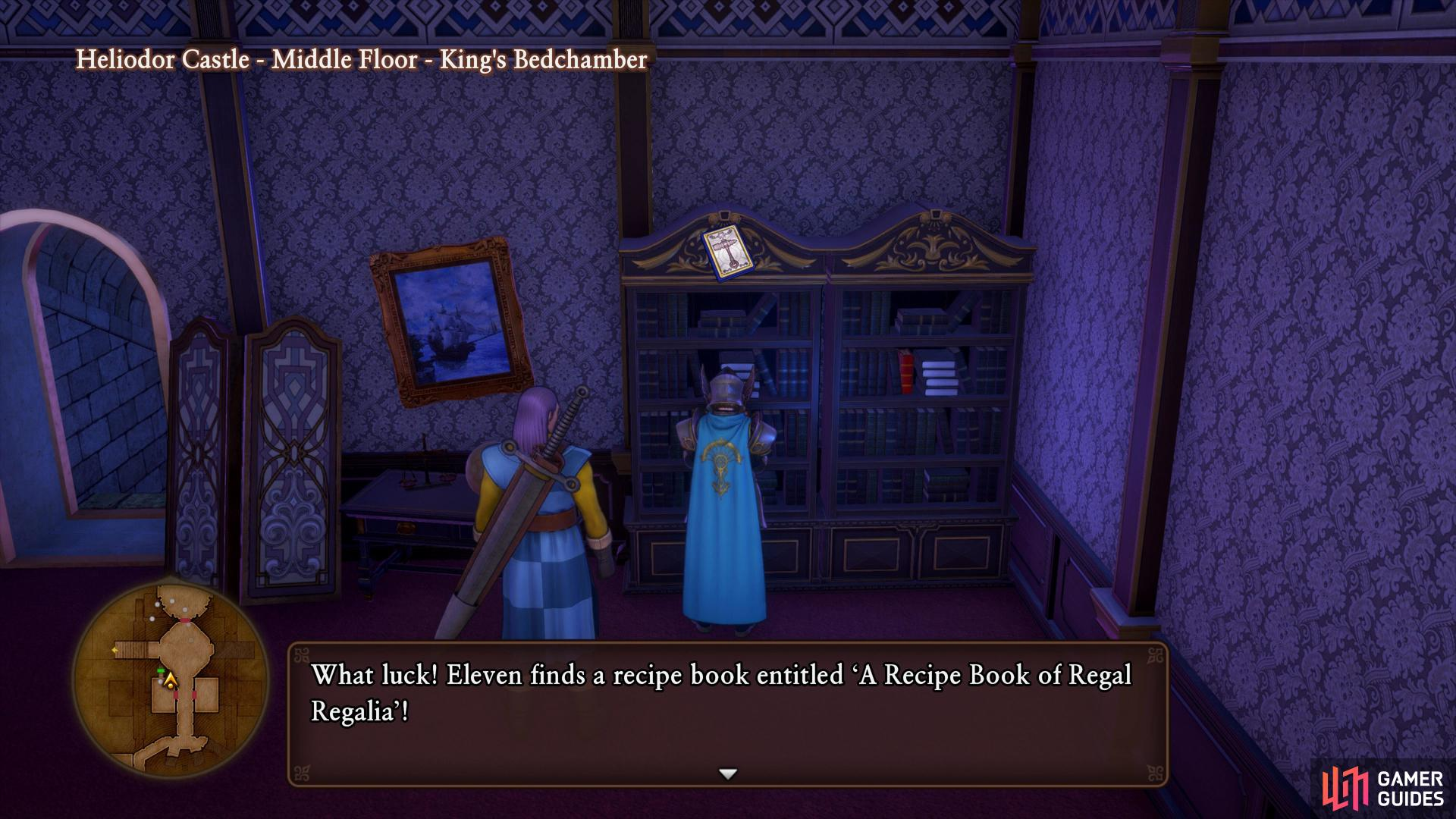 The King's Bedchamber has another bookshelf with a Recipe Book