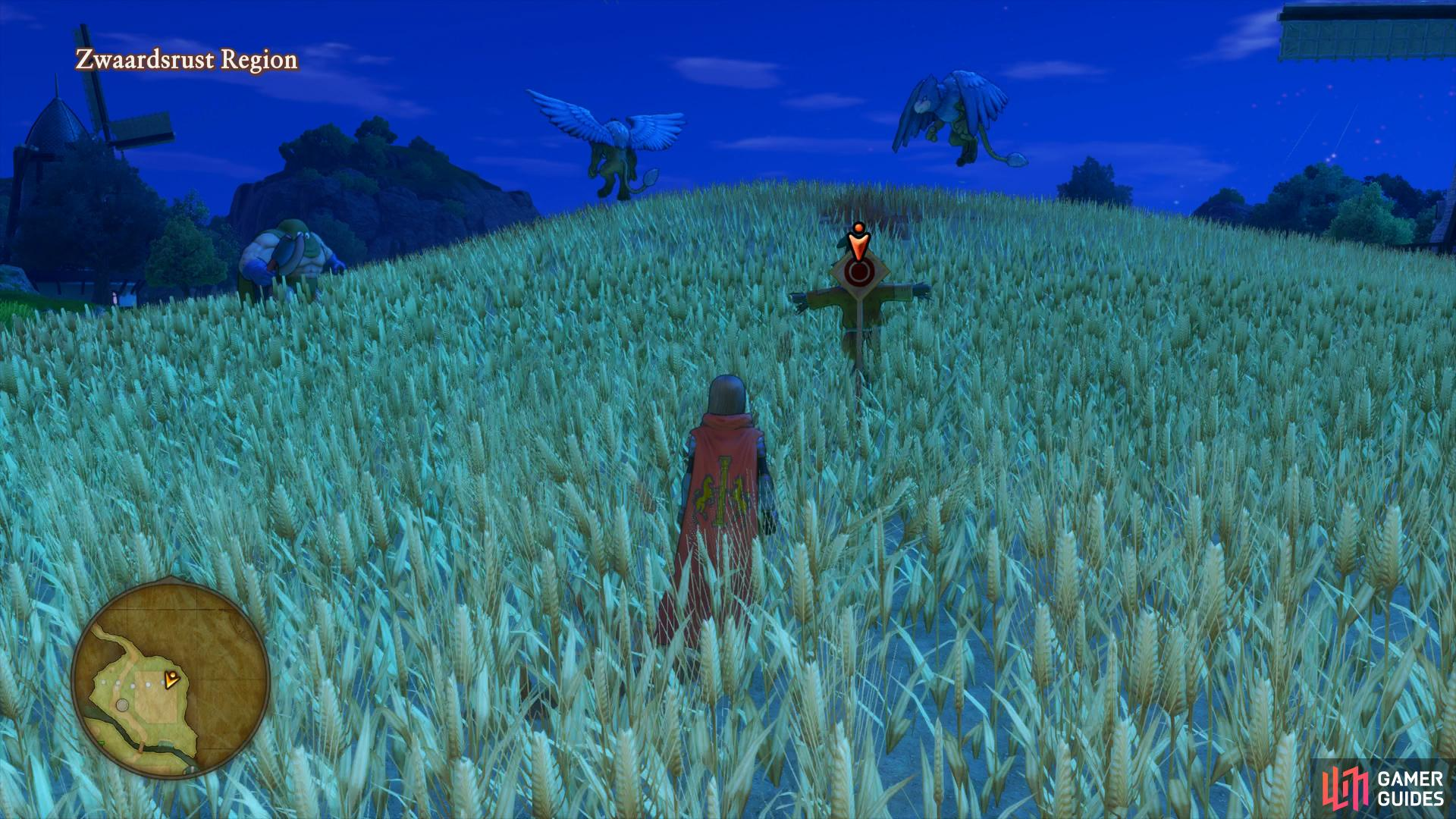 before striking the final target on the back of a scarecrow in the nearby field.