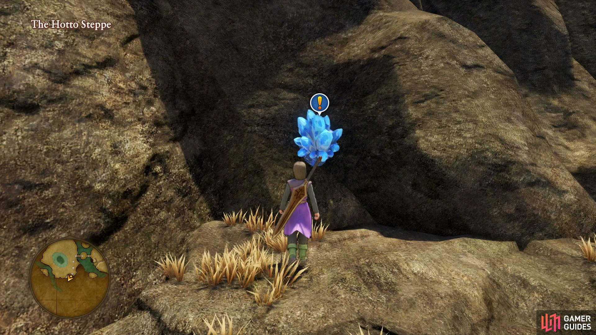 Search southwest of Hotto to find a Crystal containing the Iron Ore needed for Quest 06