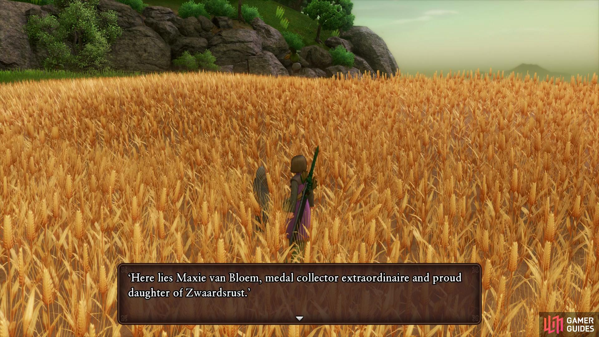 You'll find a gravestone in the fields to the east of the Warrior's Rest Inn