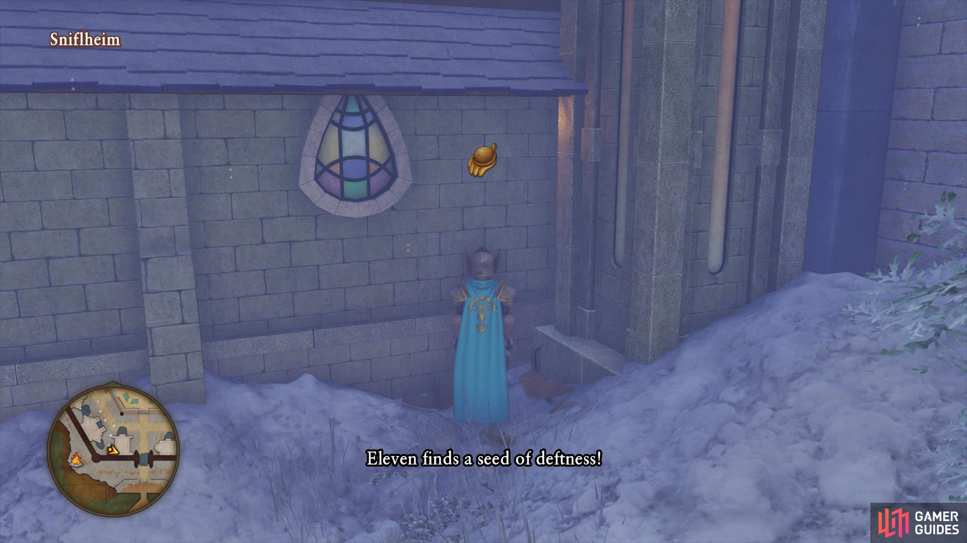 search along the side of the Church to find a barrel with a seed in it.