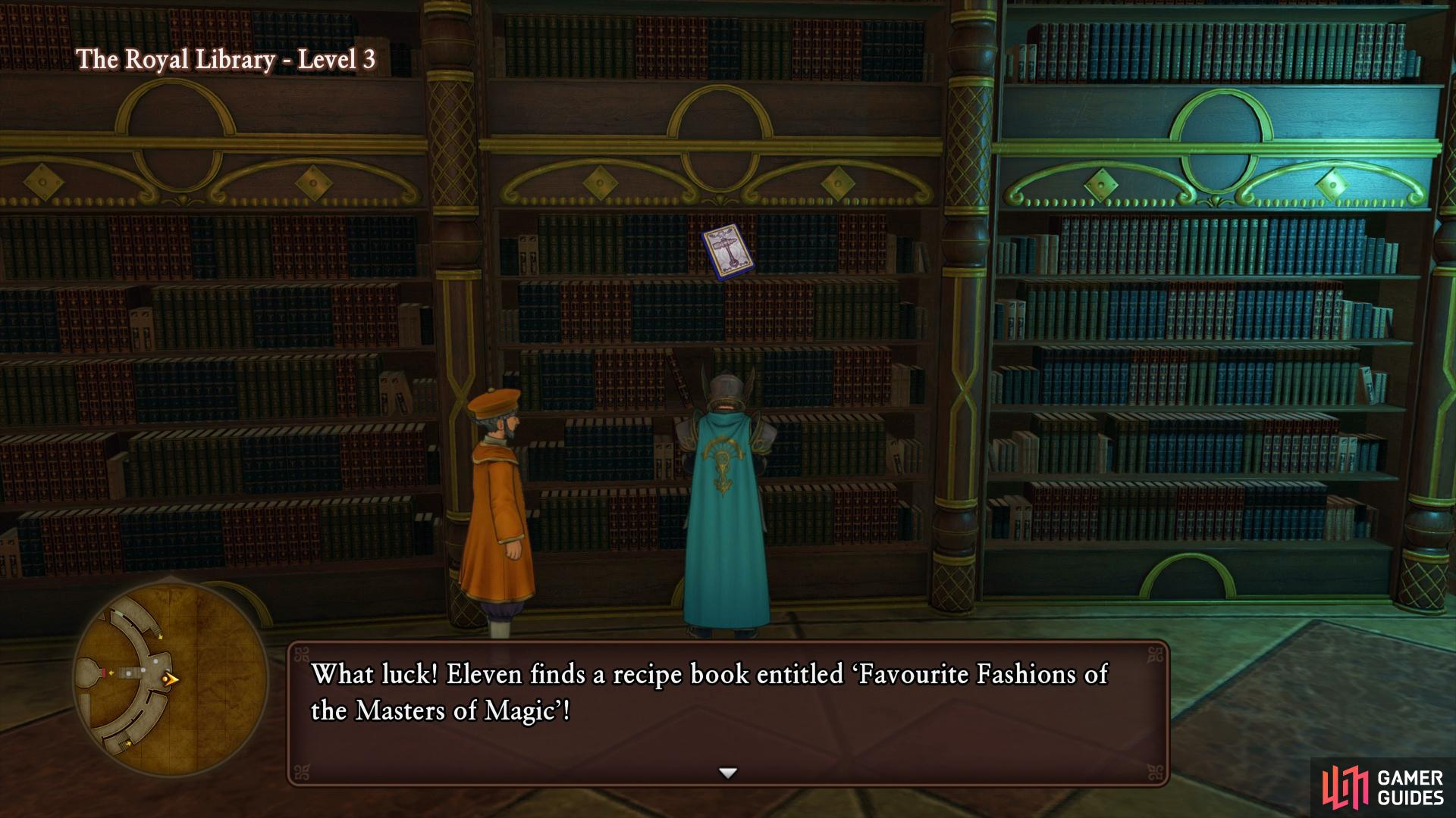 Search the bookshelf on Level 3 as you come up from Level 2