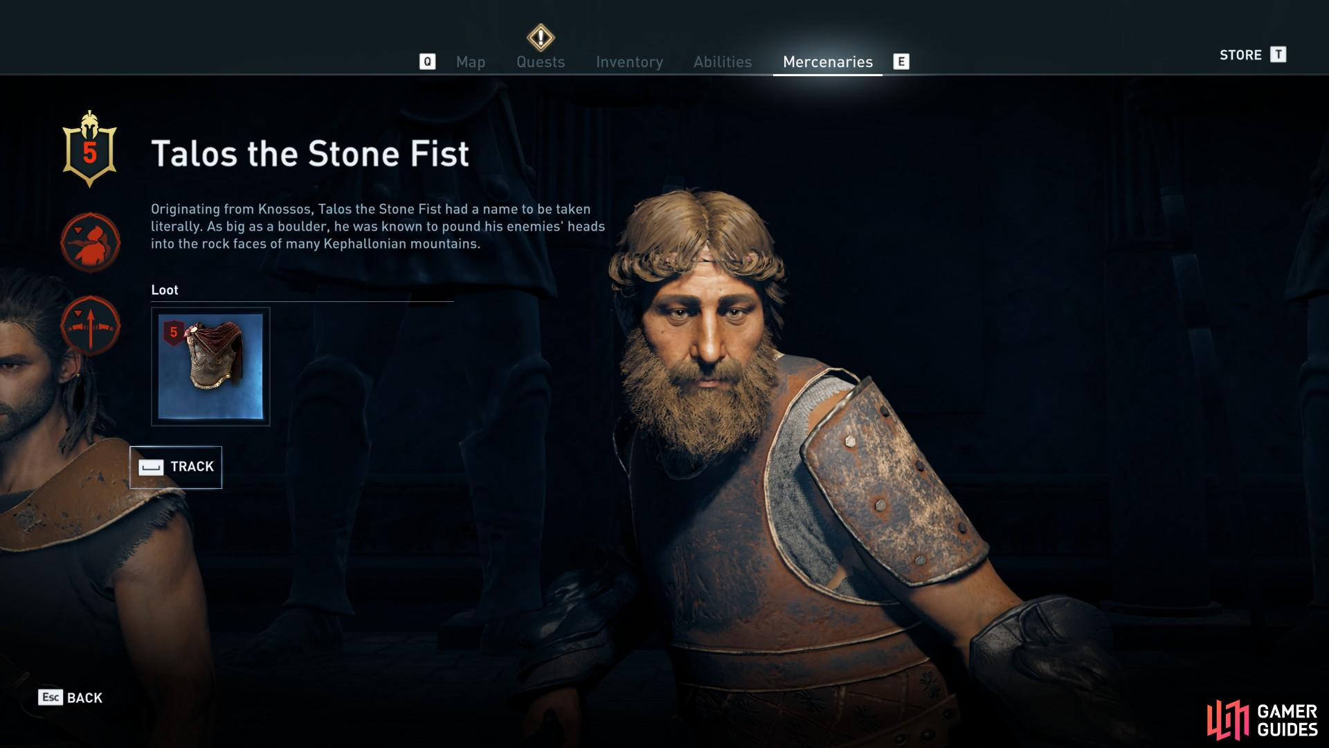 Enter the 'Mercenaries' menu to inspect Talos and track him.