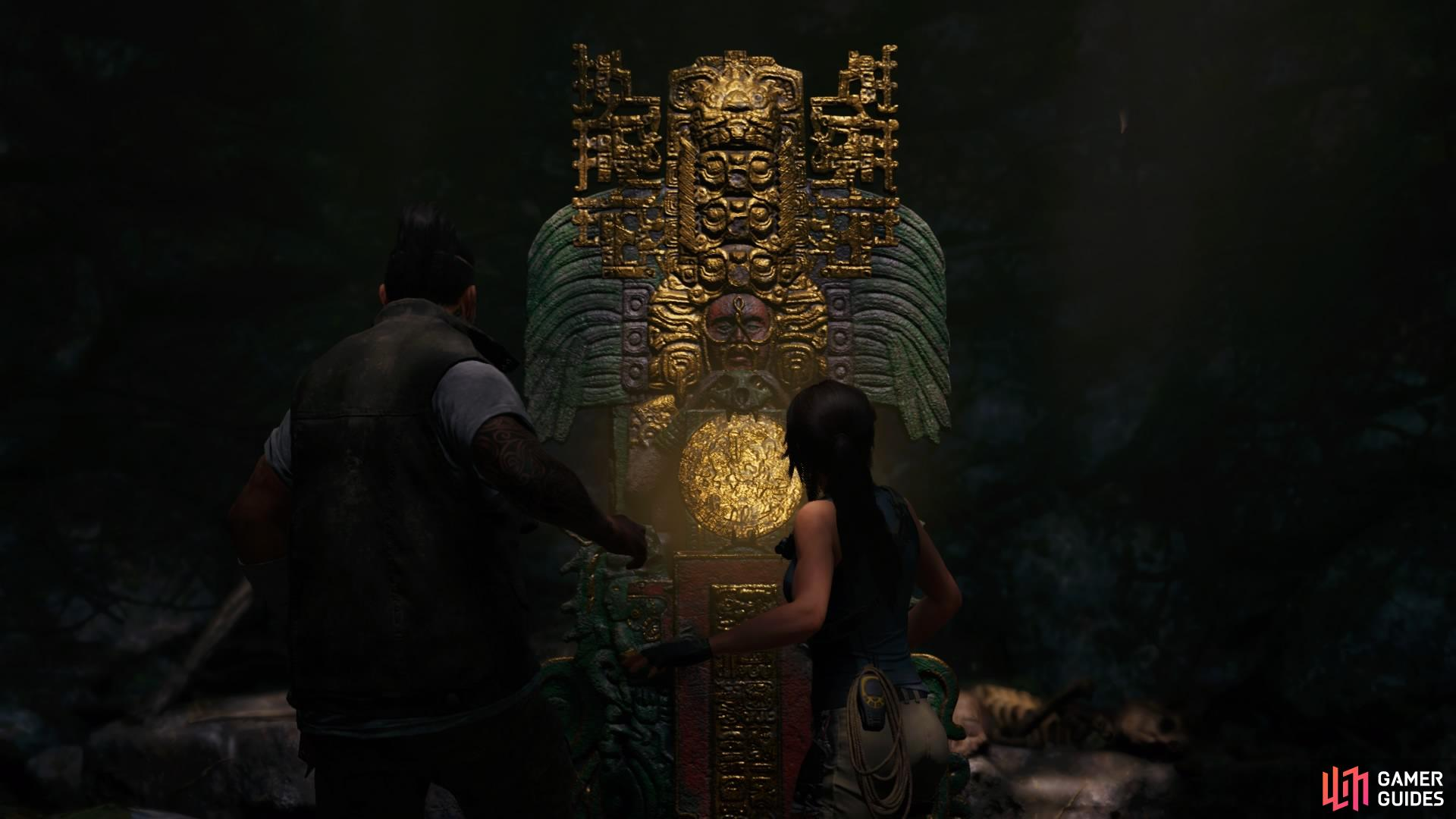 Lara will automatically interact with the stele
