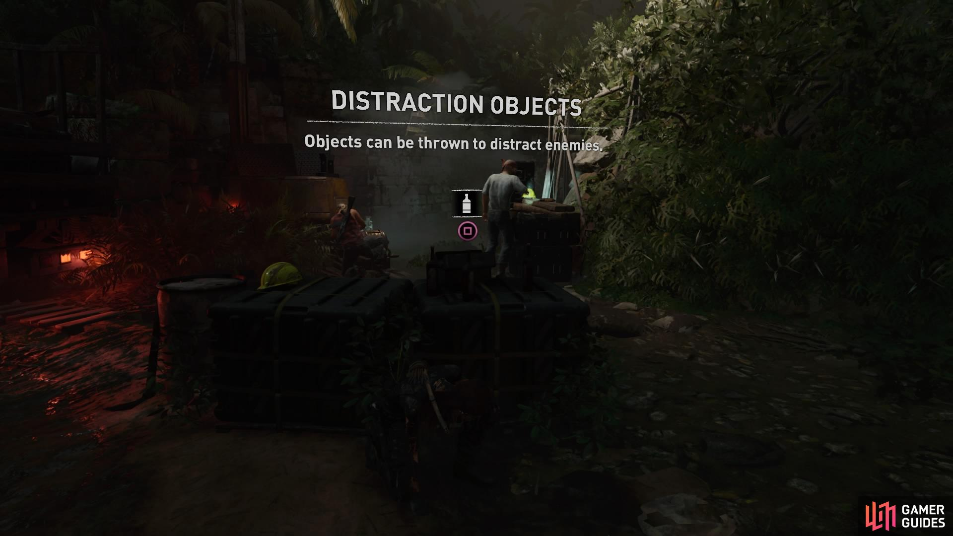 Use objects to distract enemies and isolate them