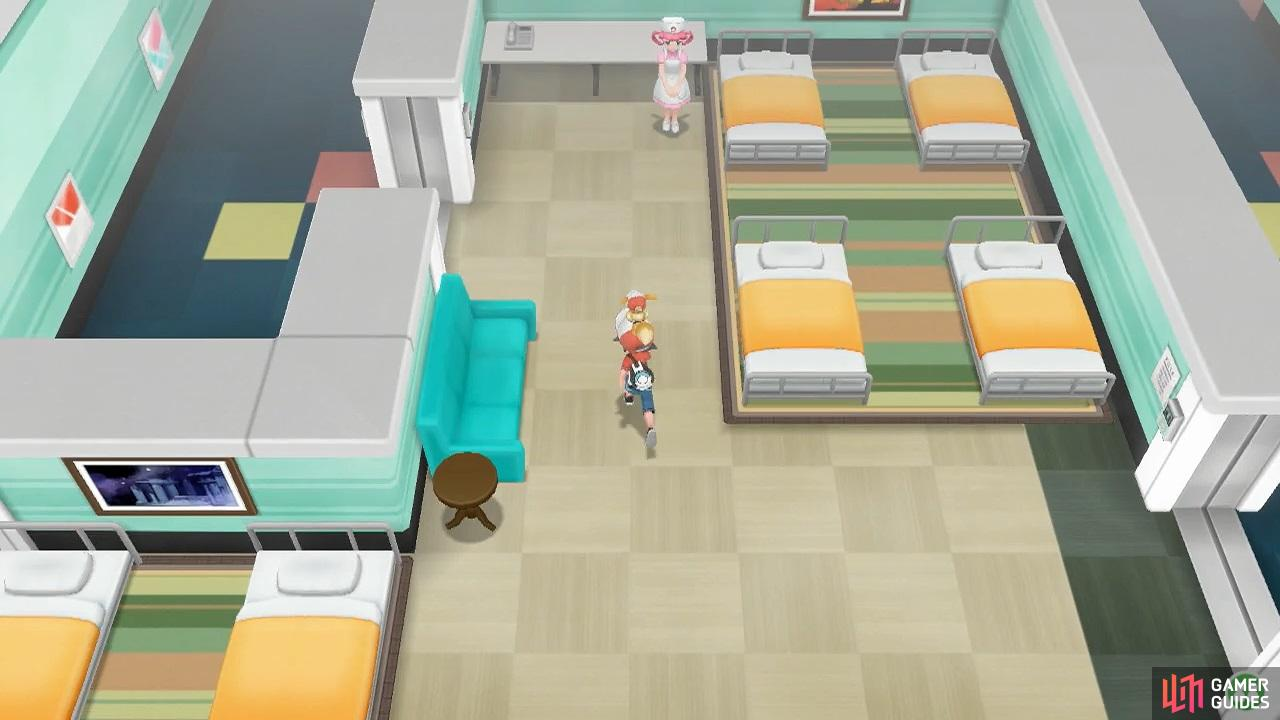 Go see the nurse if your Pokémon need healing.